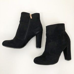 Black Suede Heeled Booties with Side Zipper
